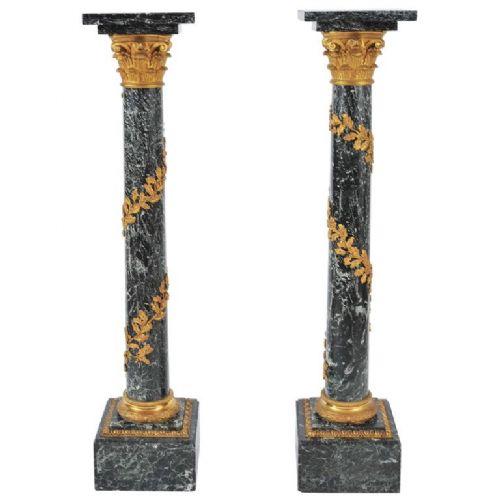 pair of 19th c dark green marble pedestals