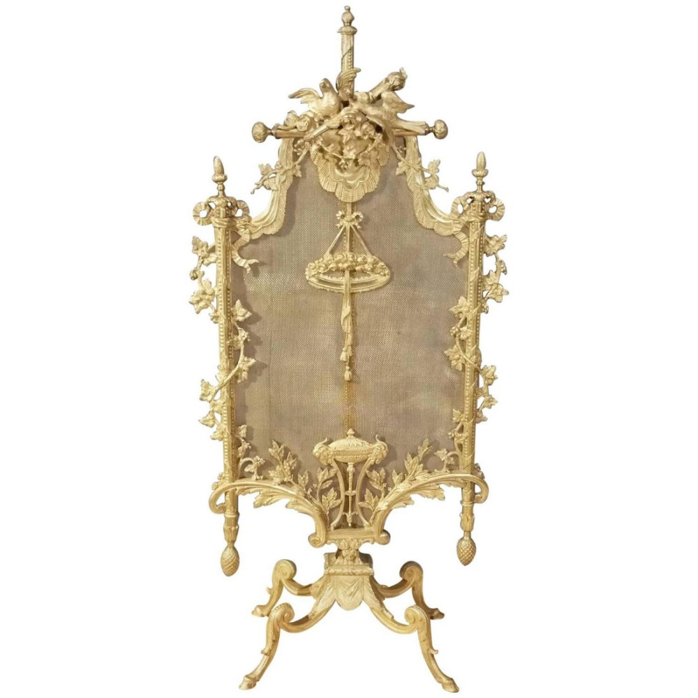 19th c french ormolu bronze fire screen