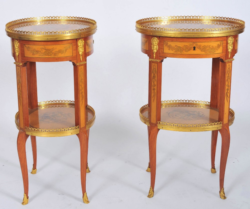 early 20th century pair of oval shaped french side tables