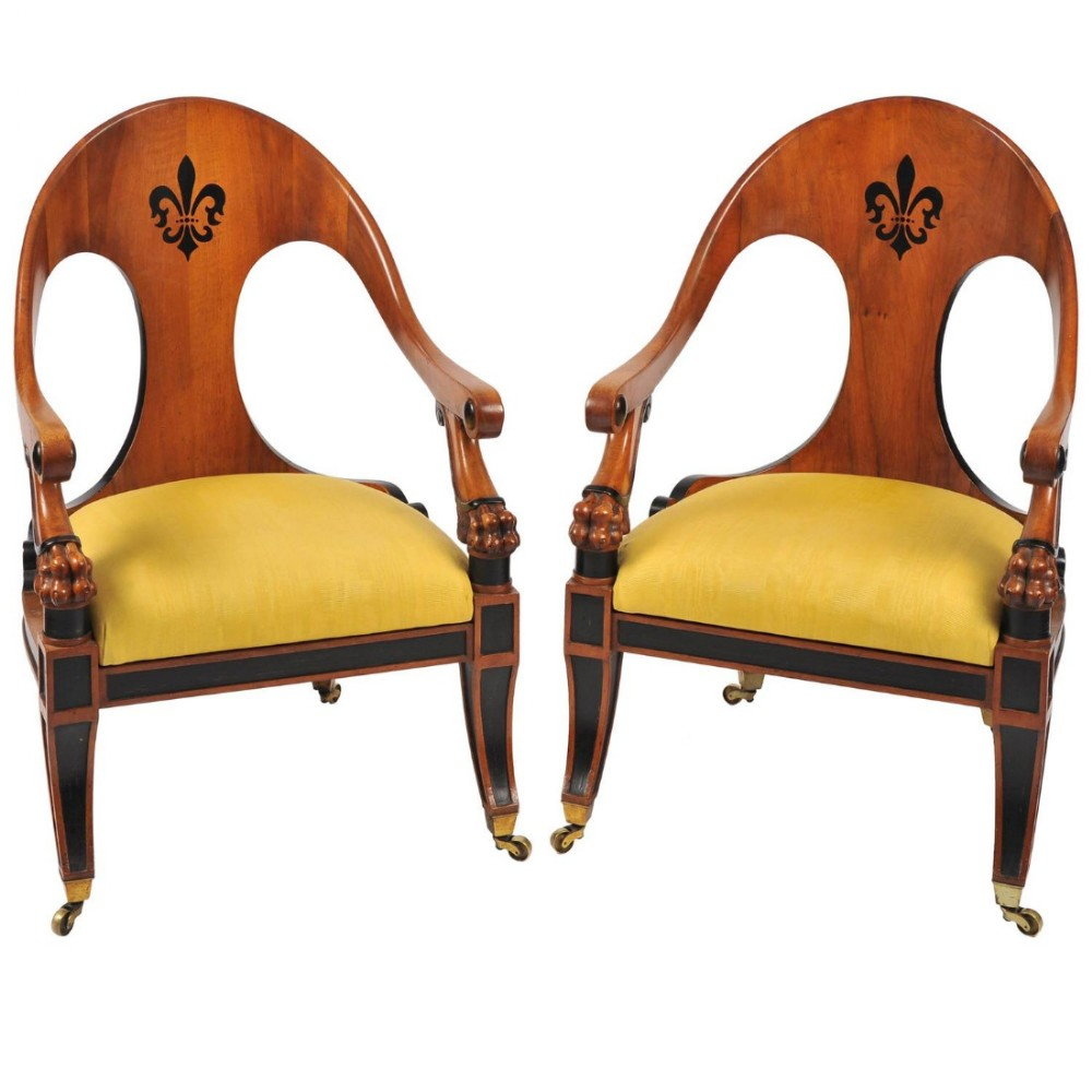 pair of english walnut armchairs