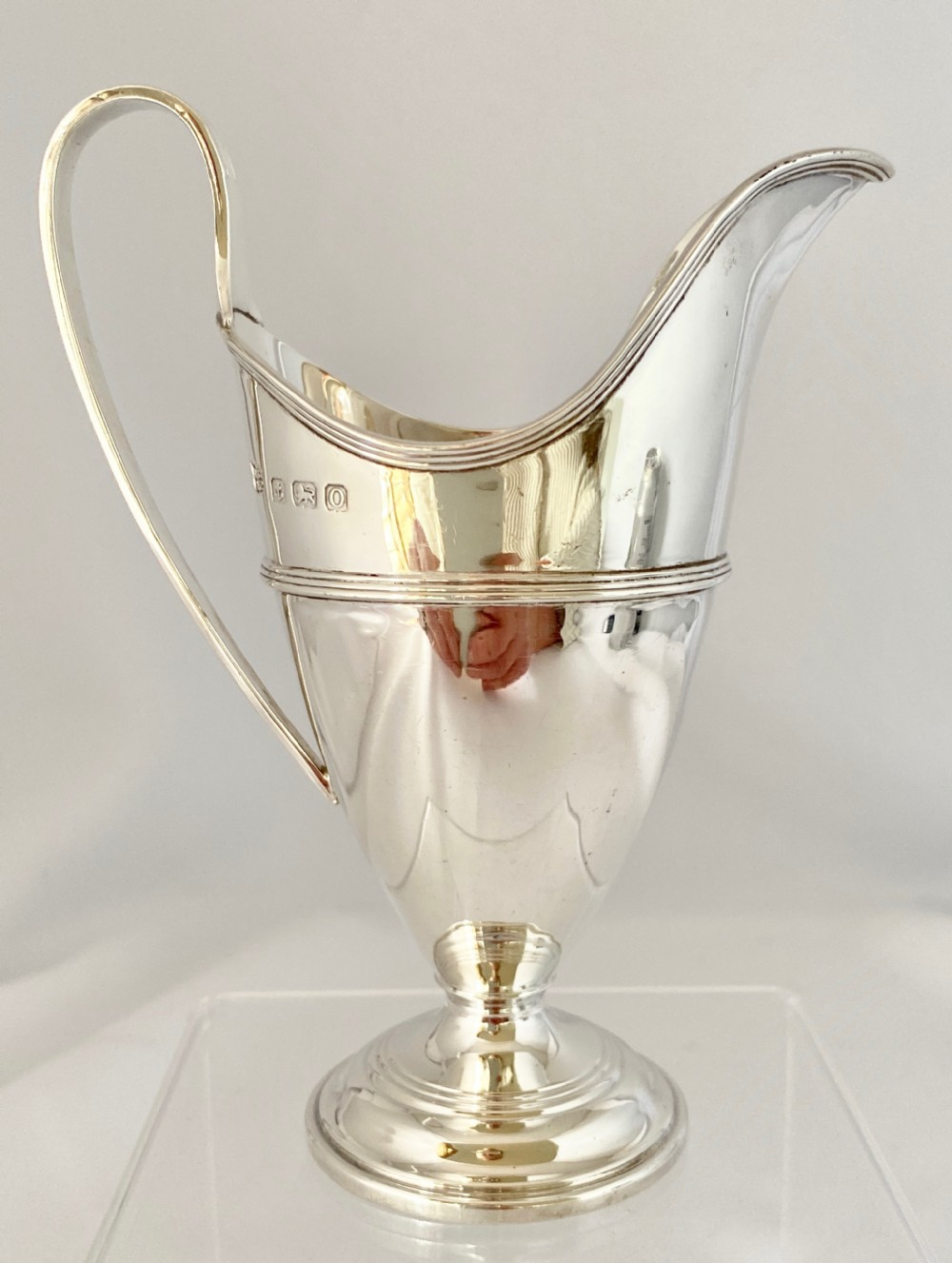 elegant solid silver cream milk jug