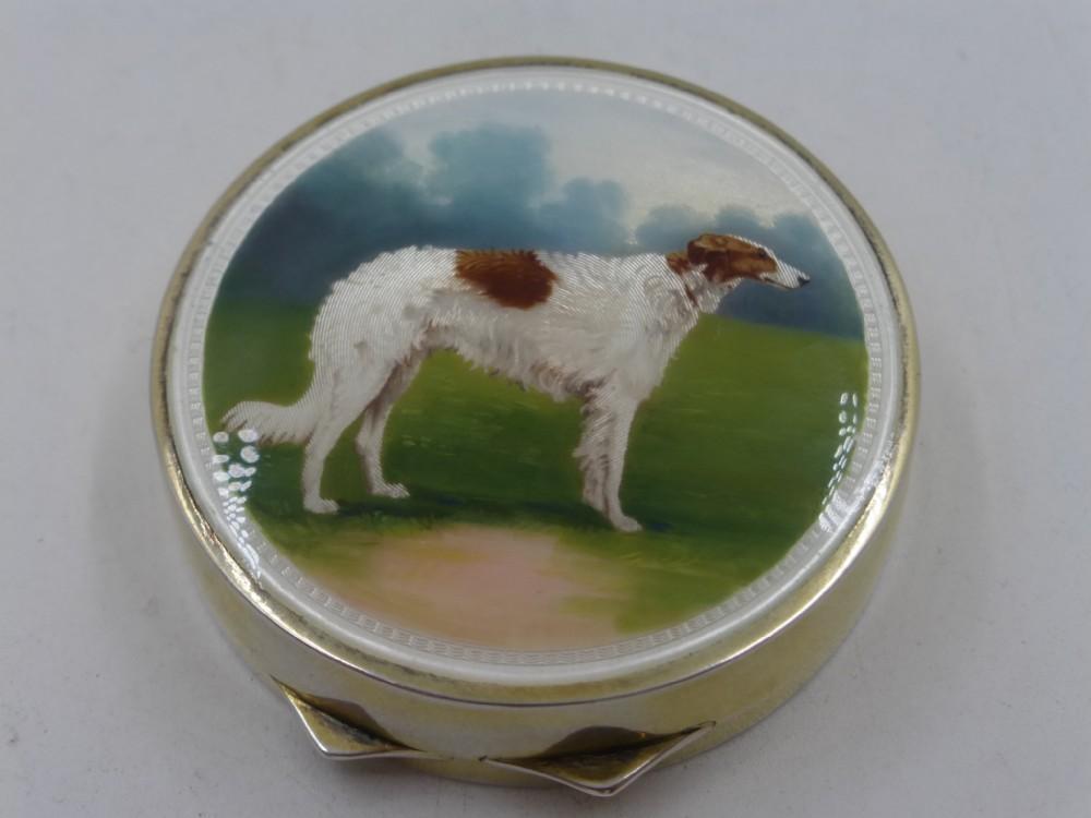 silver gilt enamel boxcompact imp sheffield 1905