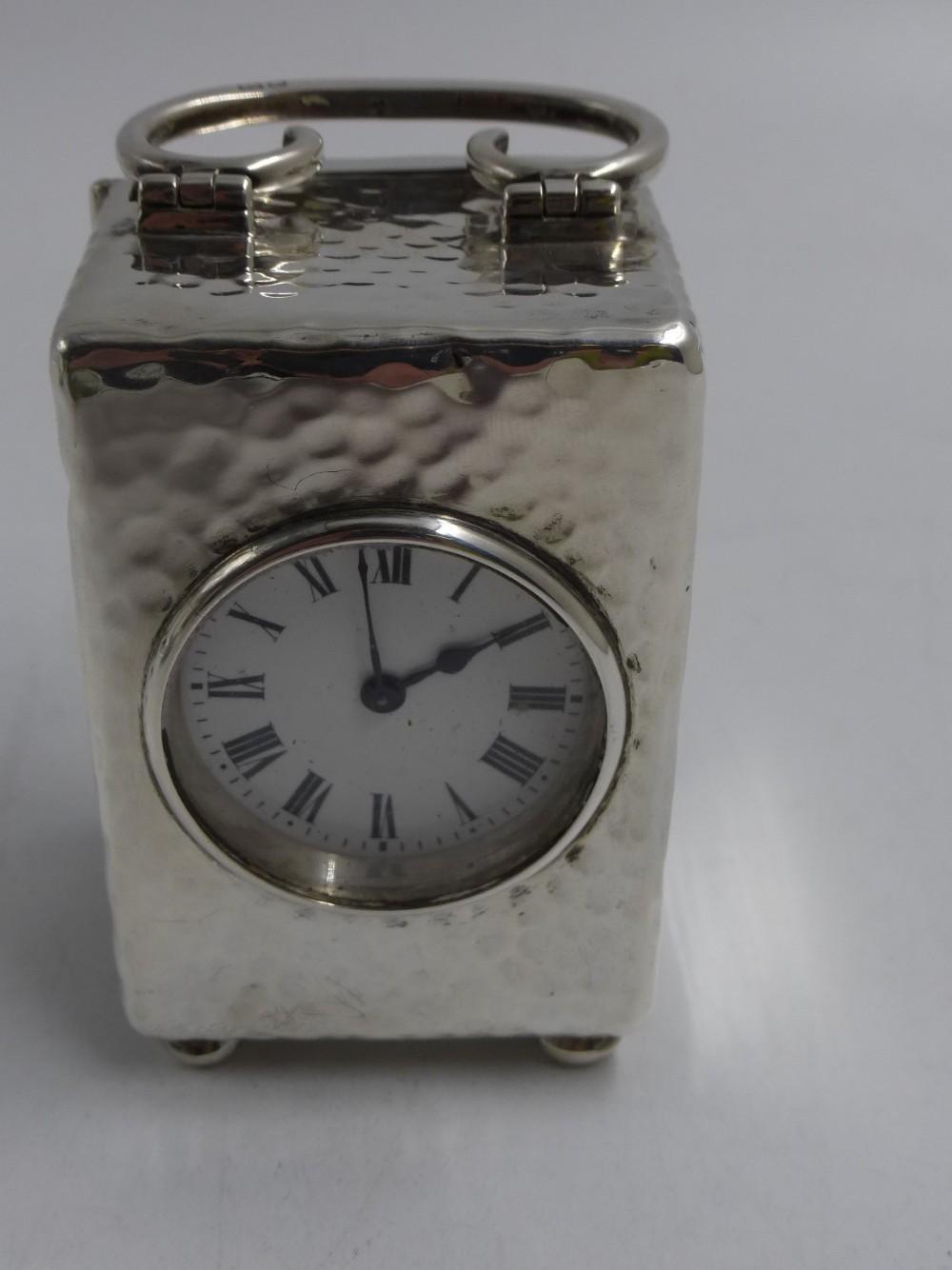 antique silver miniature carriage timepiece london 1909