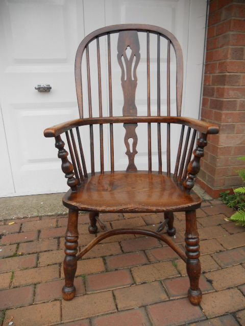 19th c ash and elm high back windsor arm chair