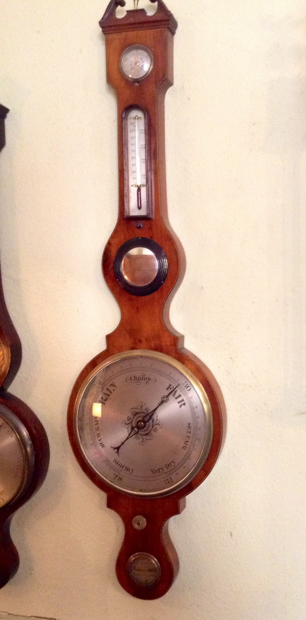 large early 19th century wheel barometer