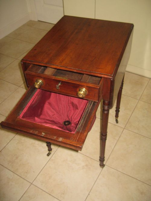 antique mahogany drop leaf sewing table photo angle 6. Black Bedroom Furniture Sets. Home Design Ideas