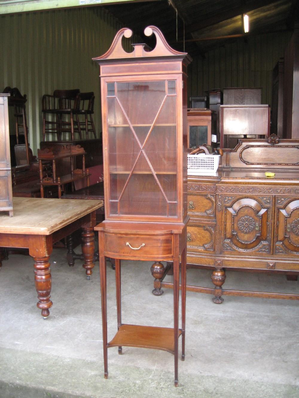 edwardian slim inlaid display cabinet