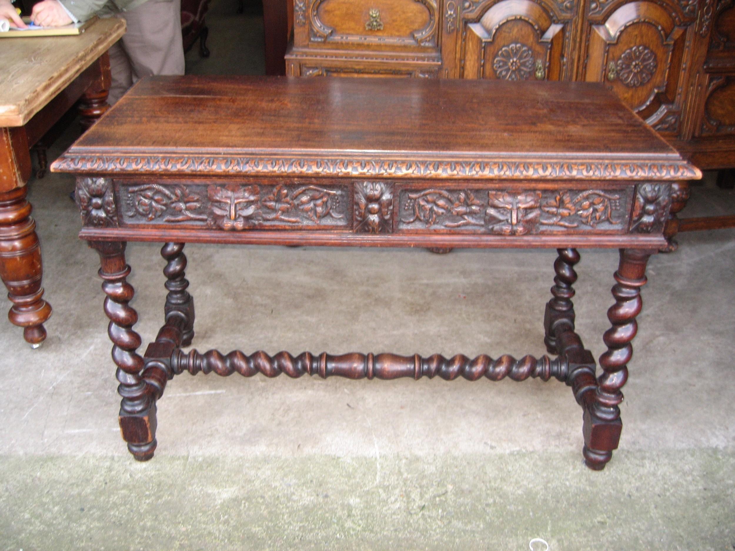 victorian oak side table desk