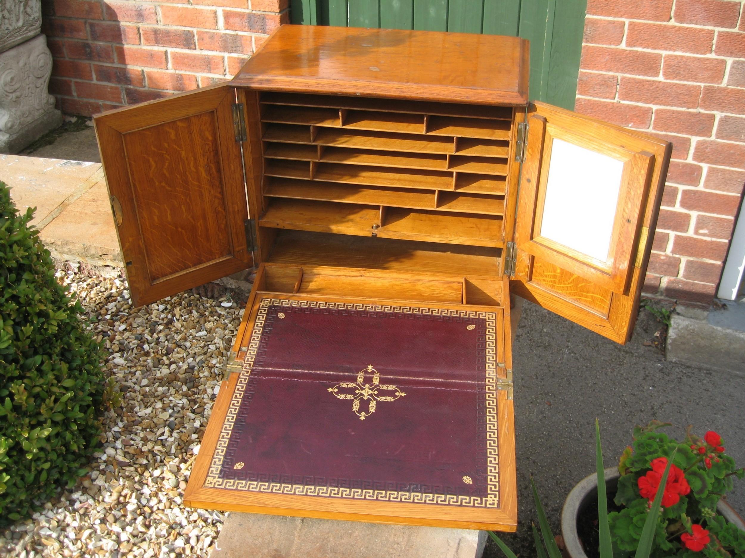 oak stationary writing slope cabinet