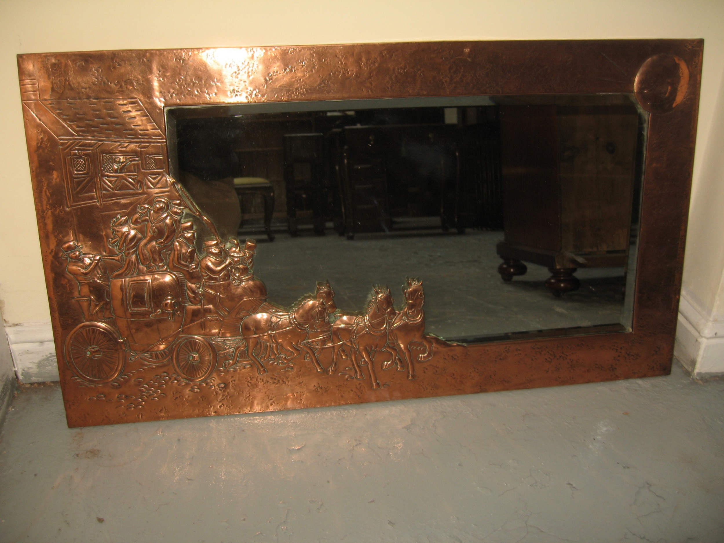 arts and crafts style copper mirror