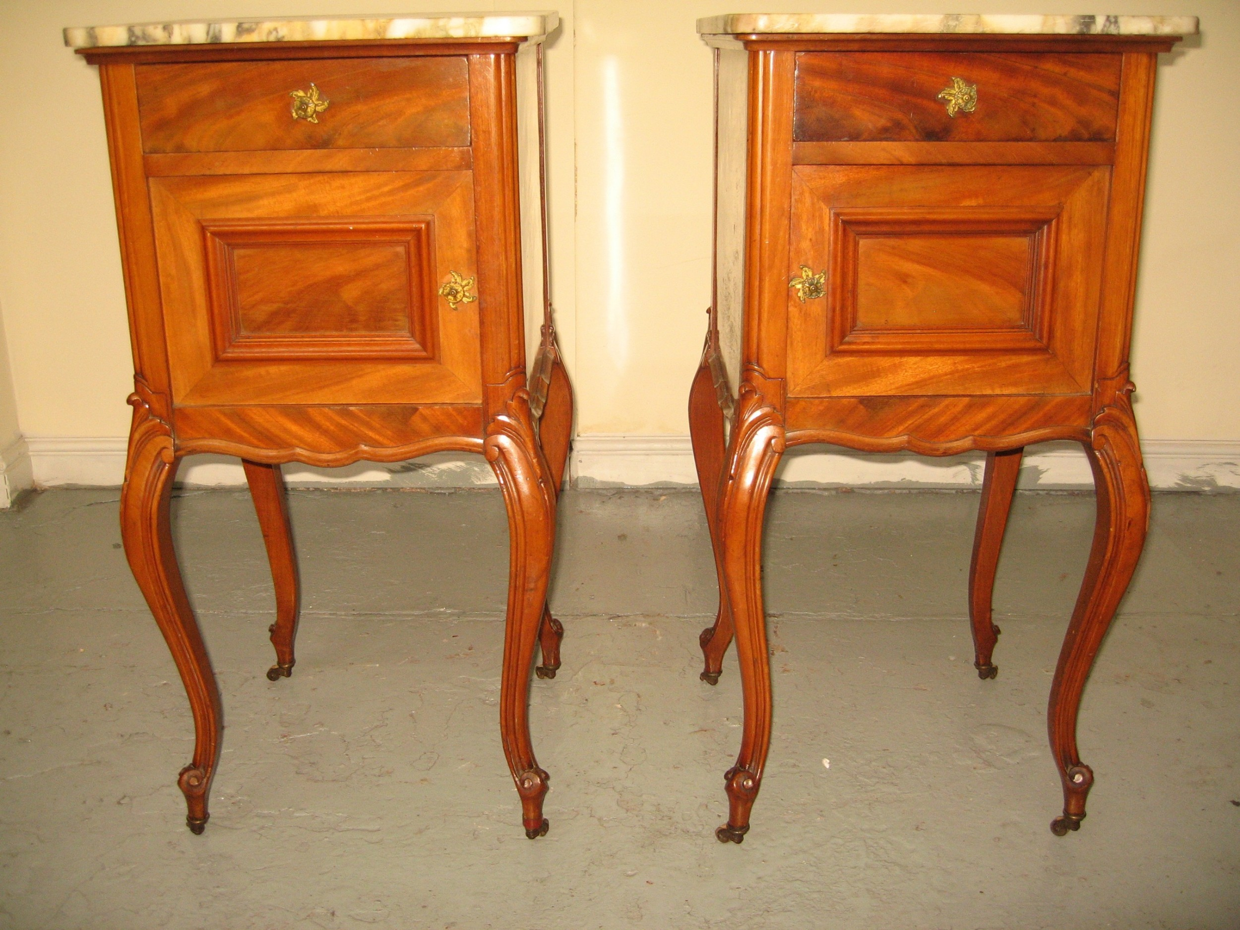 good pair of french bed side cabinets