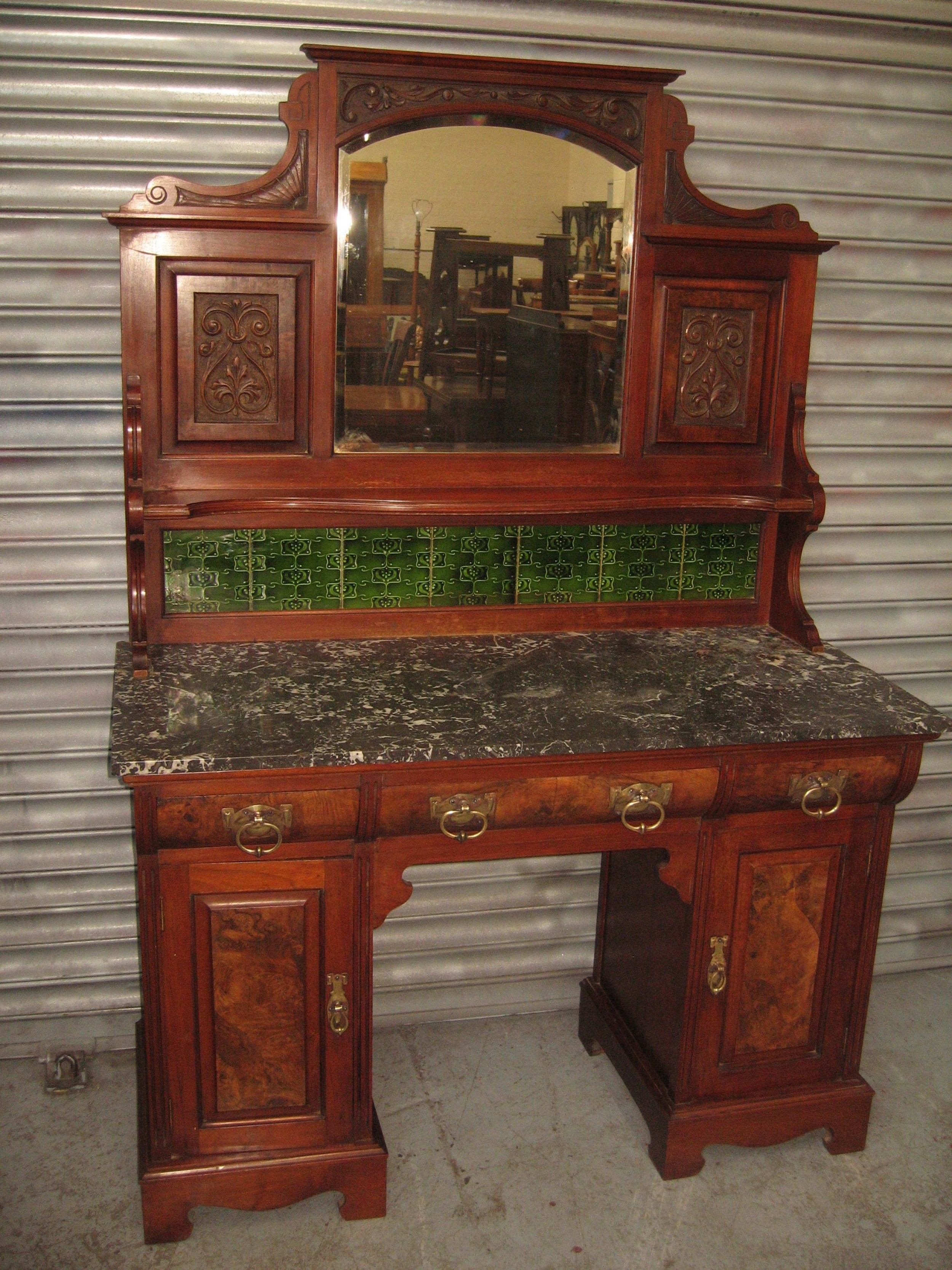 large victorian marble and tile wash stand