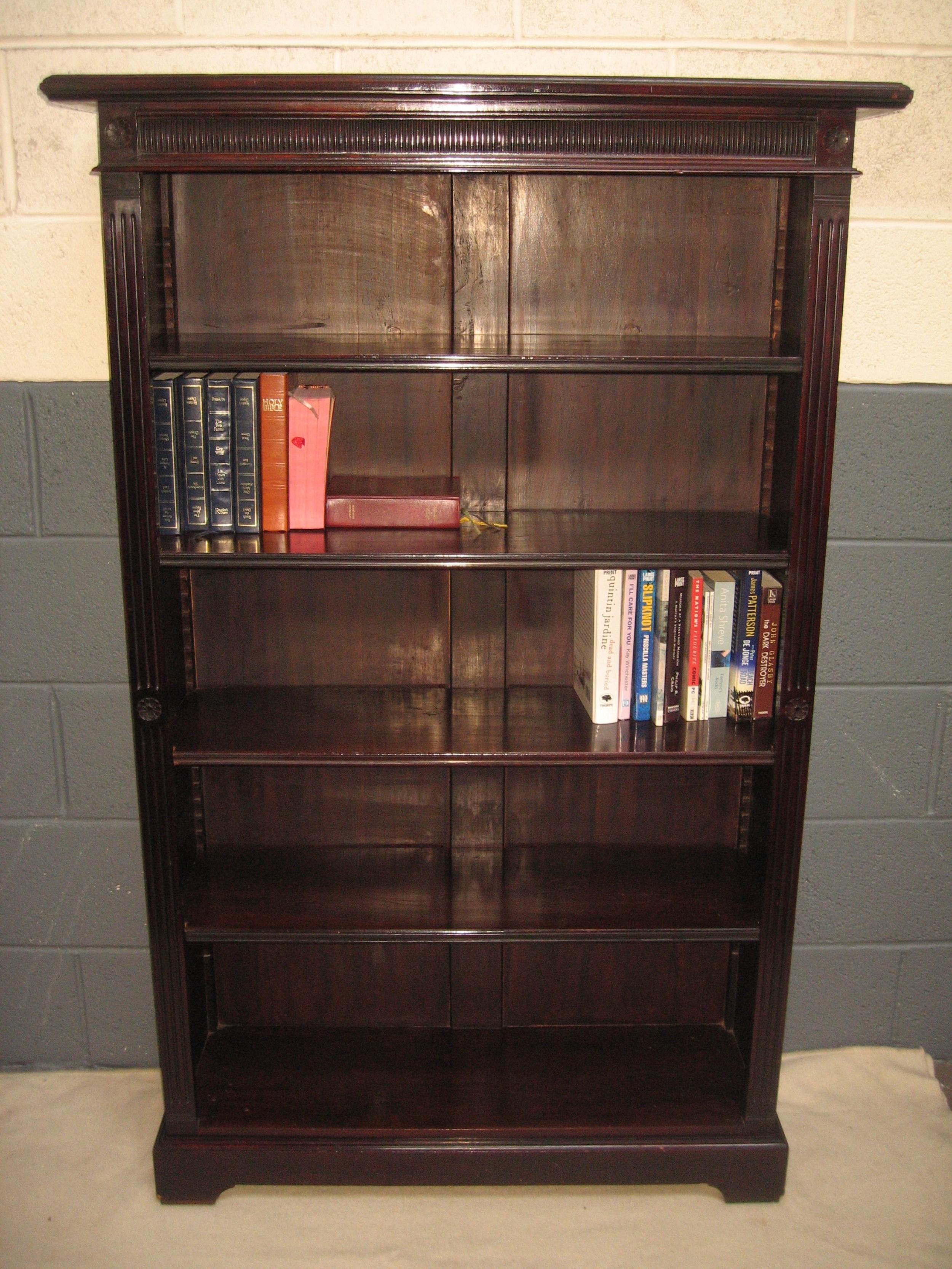 late victorian dark mahogany open bookcase