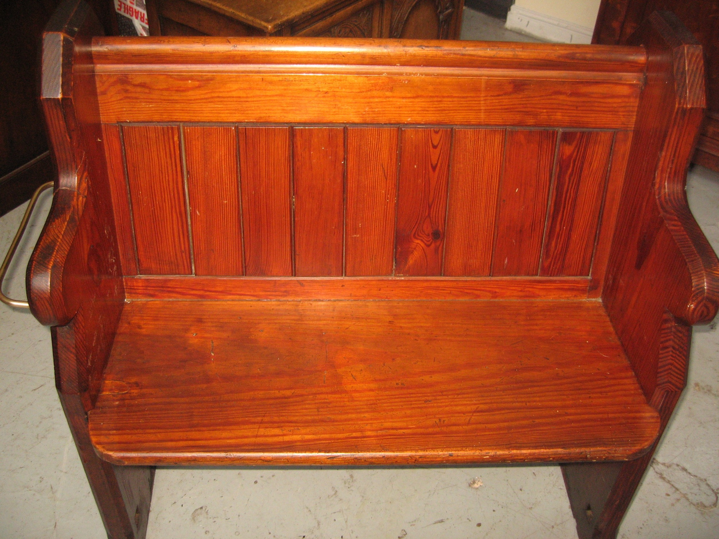 small size victorian pitch pine pew bench seat