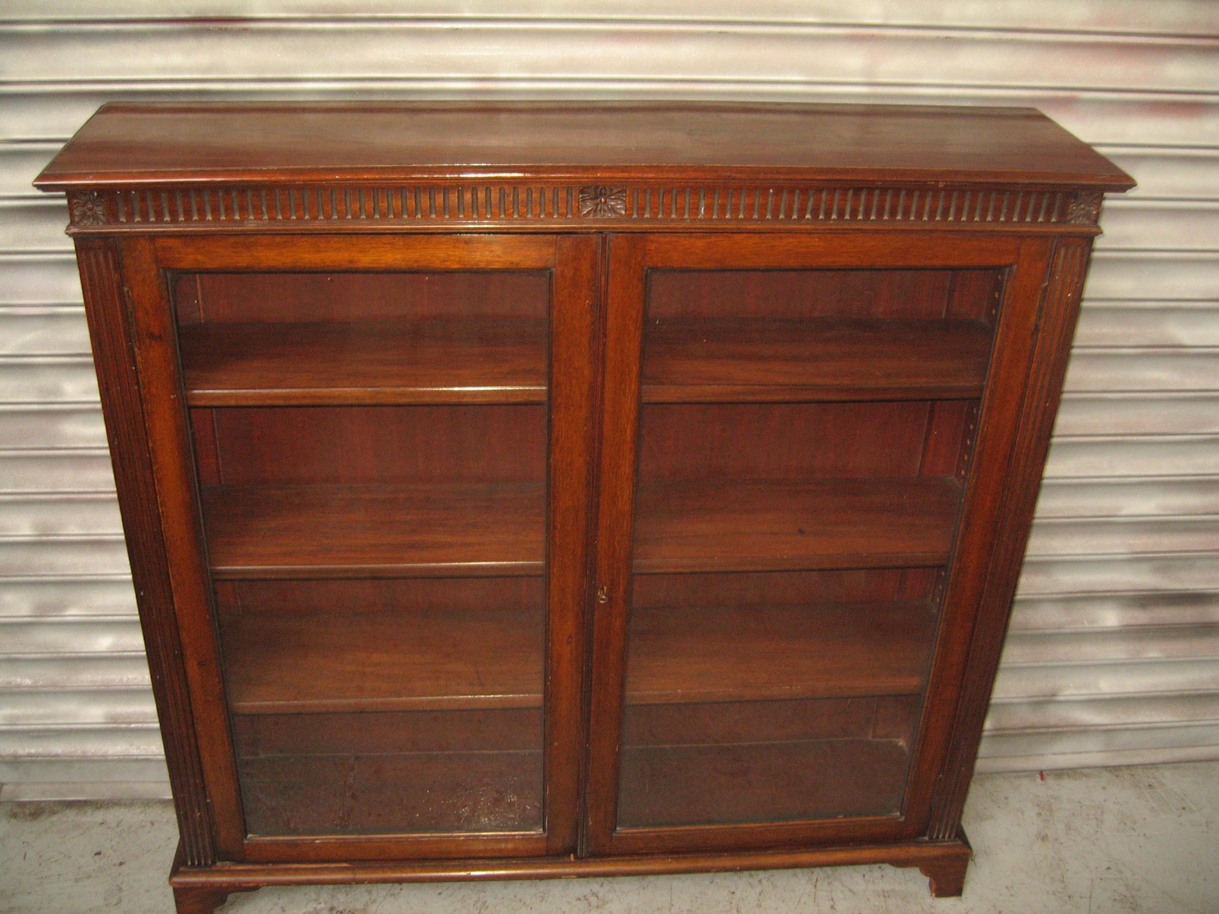 edwardian mahogany two door bookcase