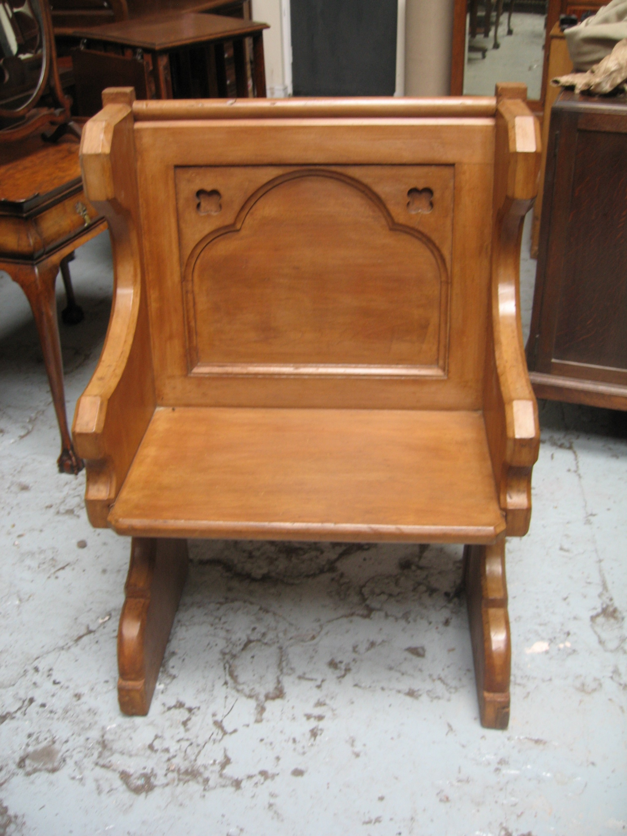 victorian small size pine pew bench