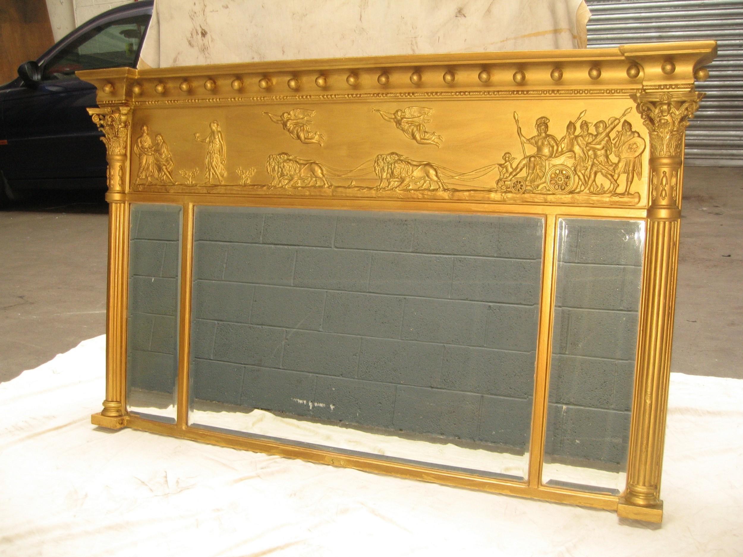 19th century gilt over mantle mirror