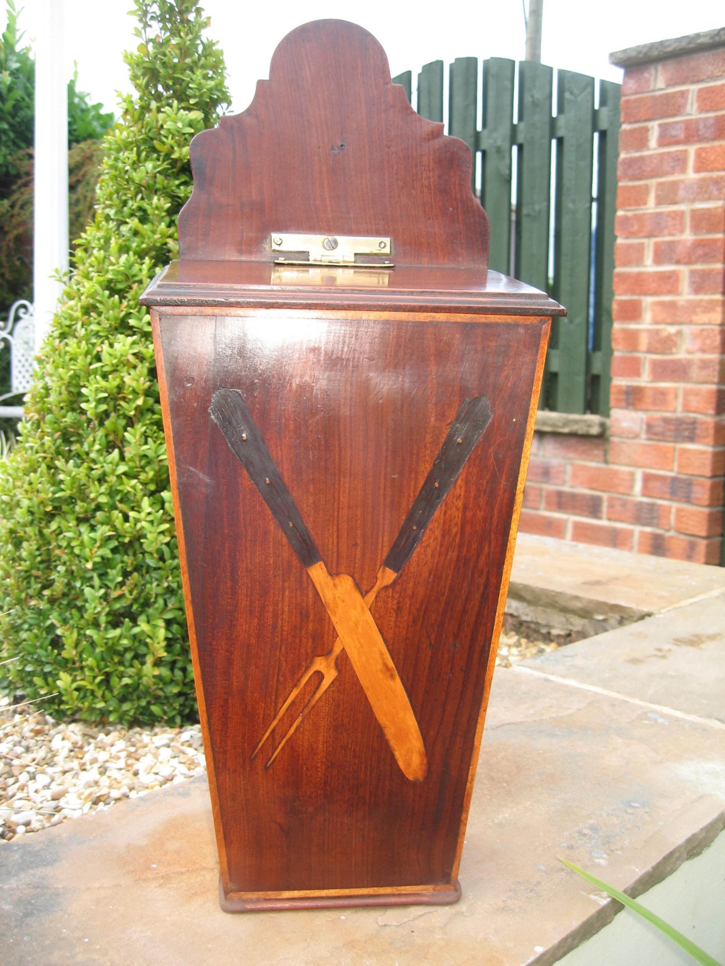 antique mahogany knife or salt box