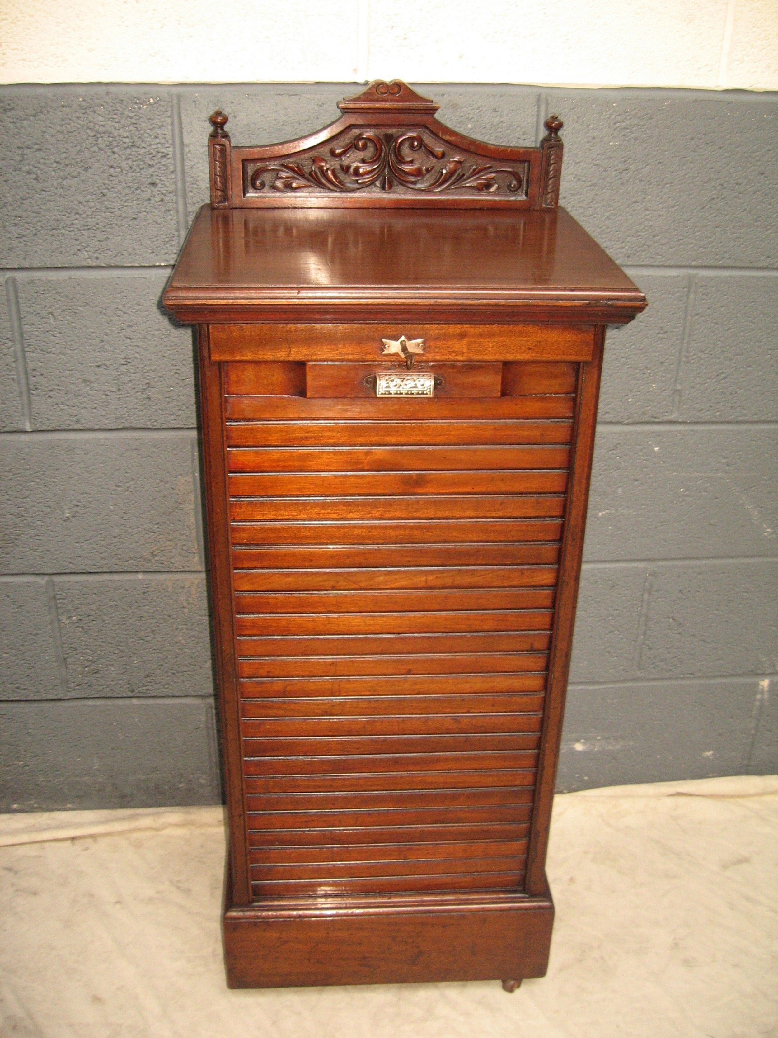 mahogany roller shutter file cabinet