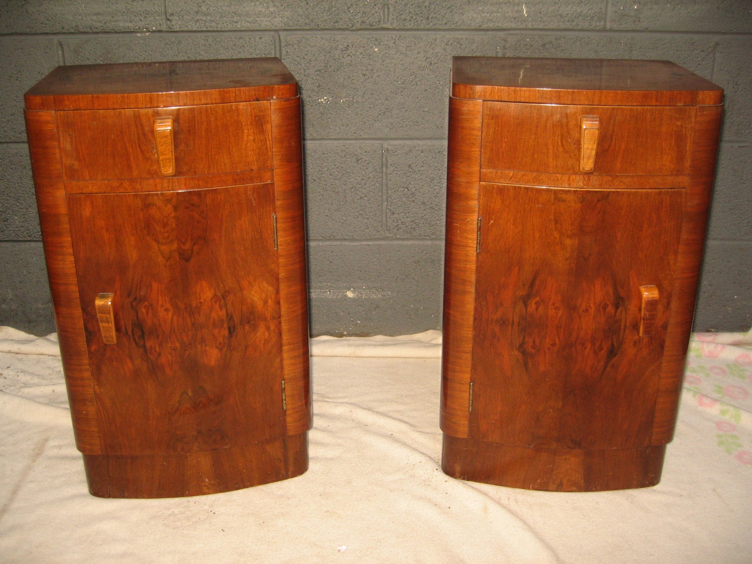 pair of burr walnut art deco period bed side cabinets