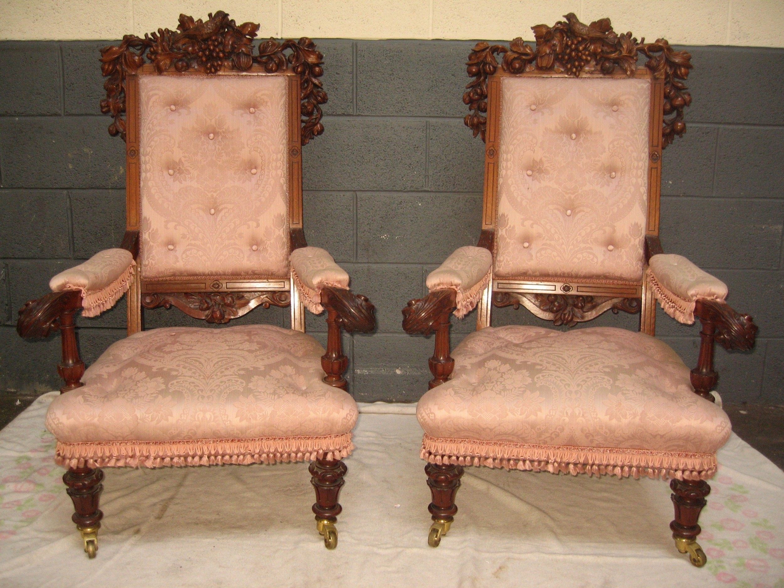 impressive pair of carved victorian period walnut arm chairs