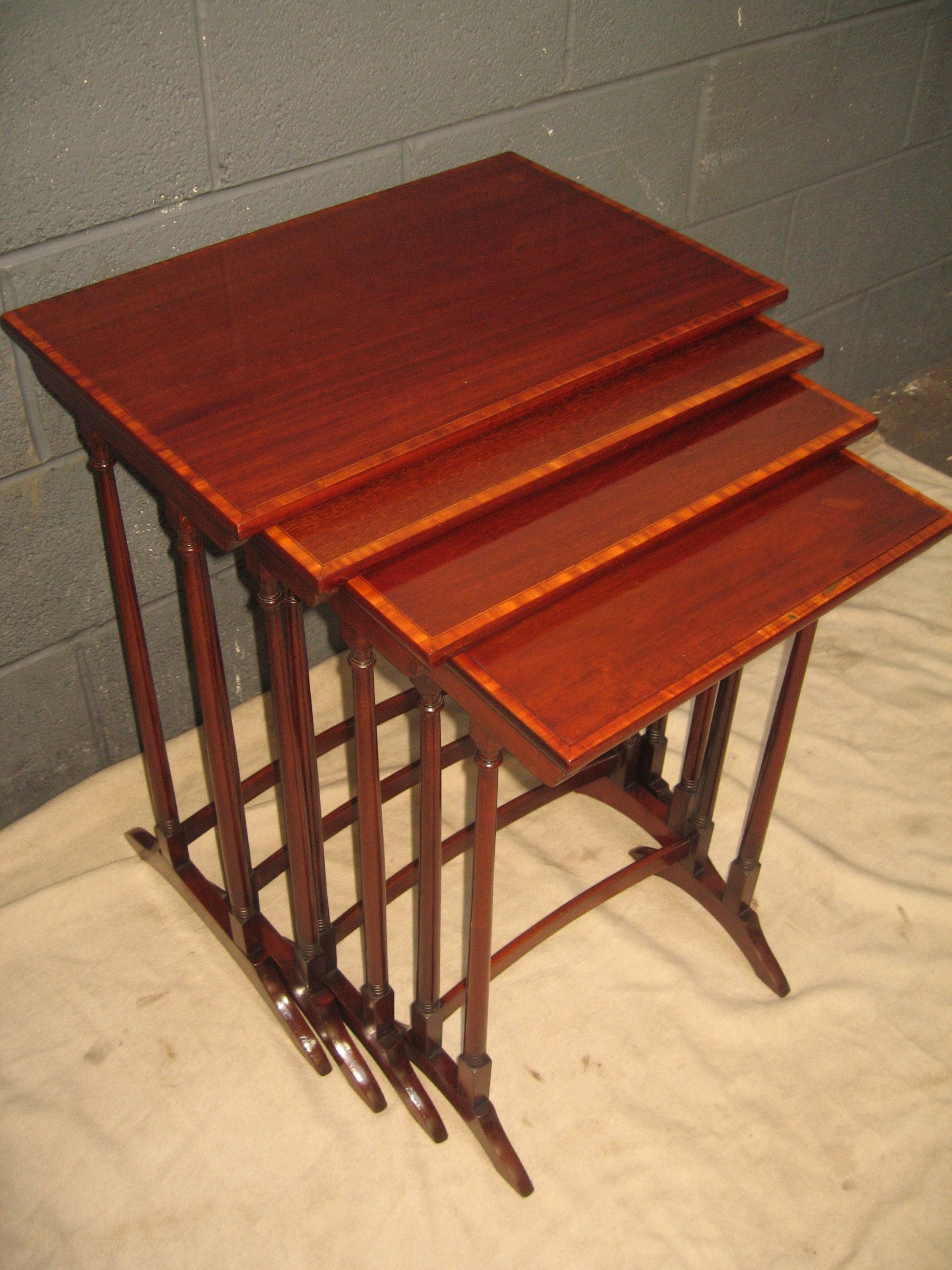 edwardian mahogany nest of four occasional tables