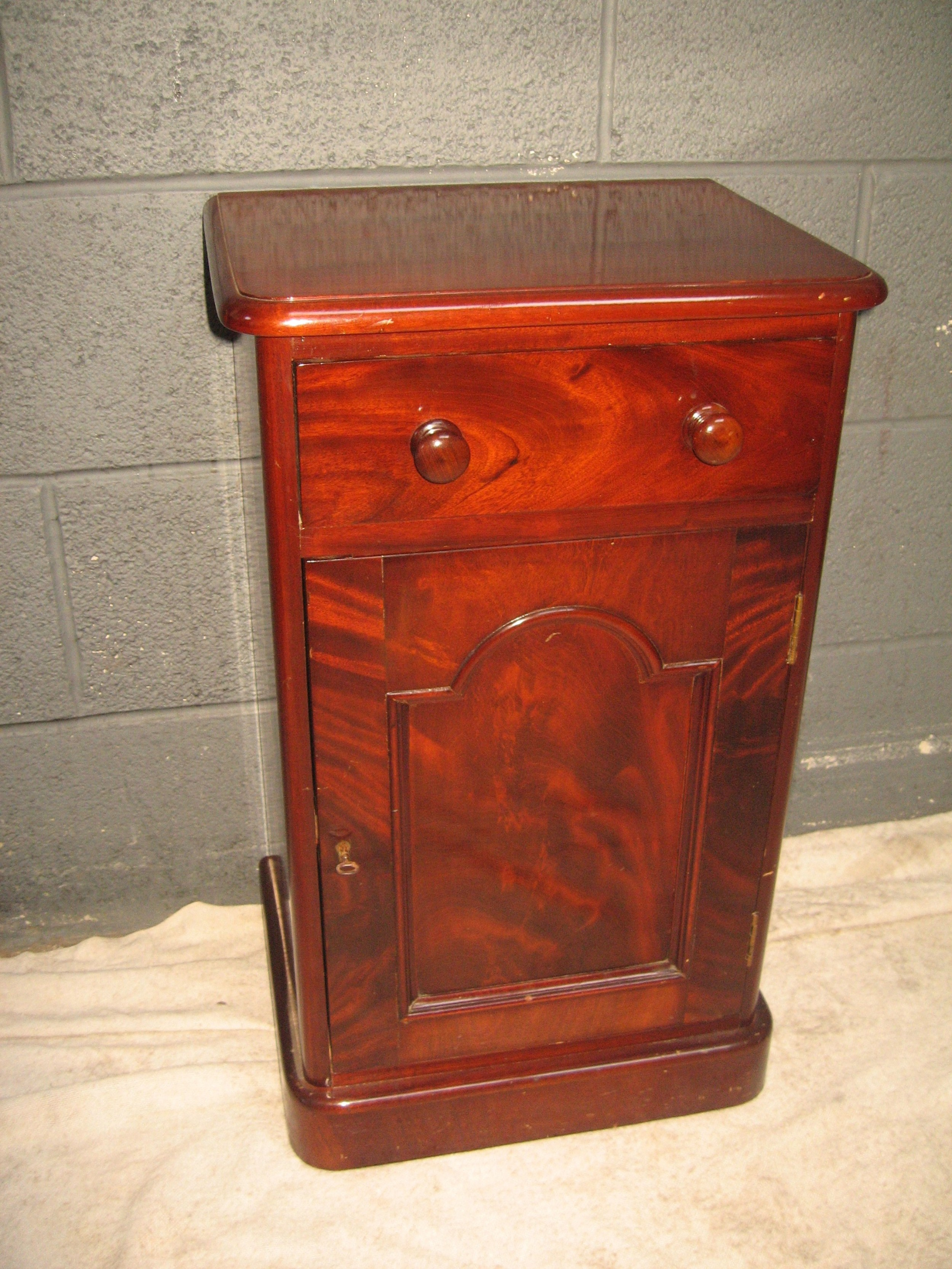 victorian period mahogany bed side cabinet