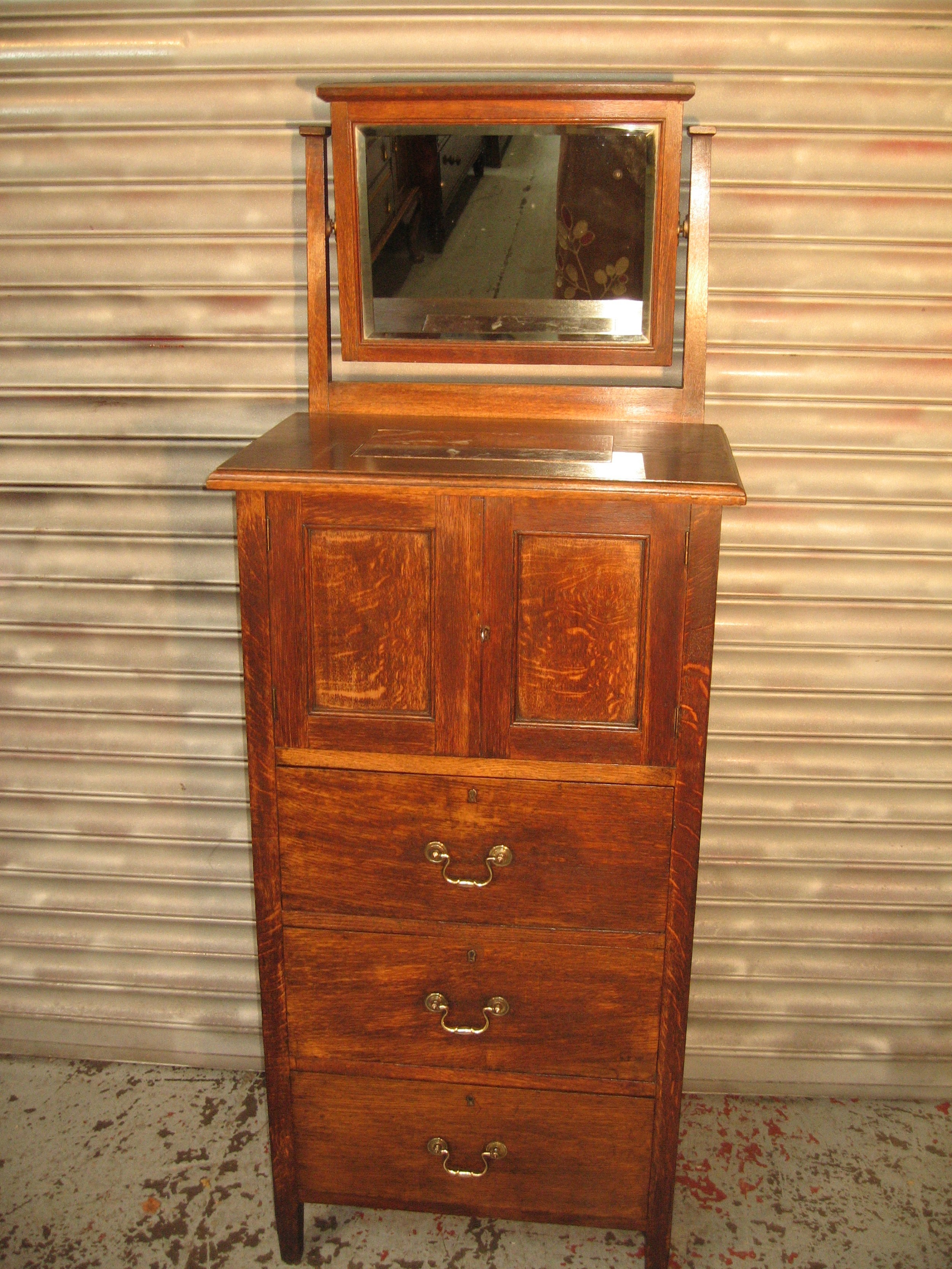 arts and crafts style tall slim oak dressing table