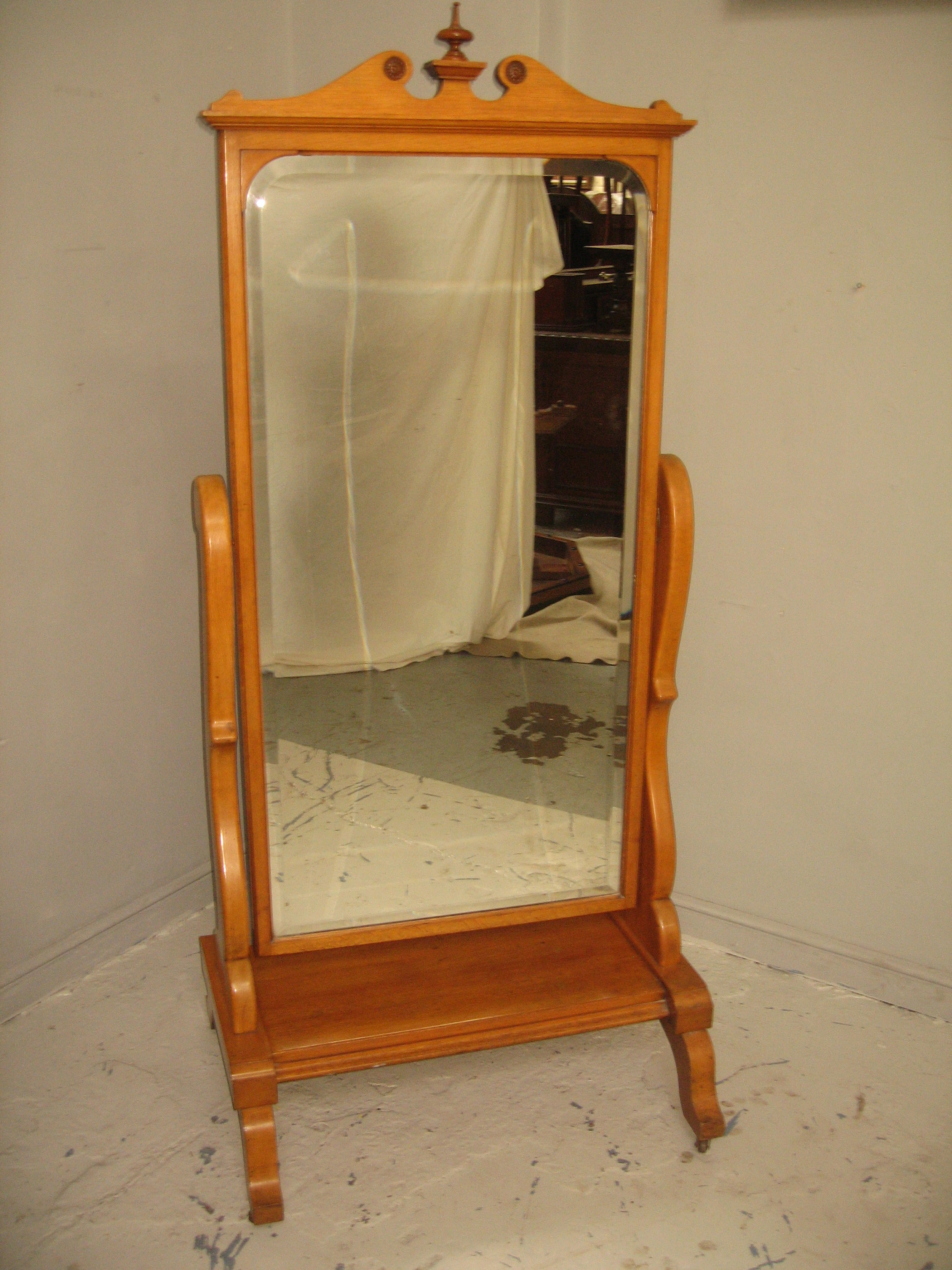 late victorian ash wood cheval mirror