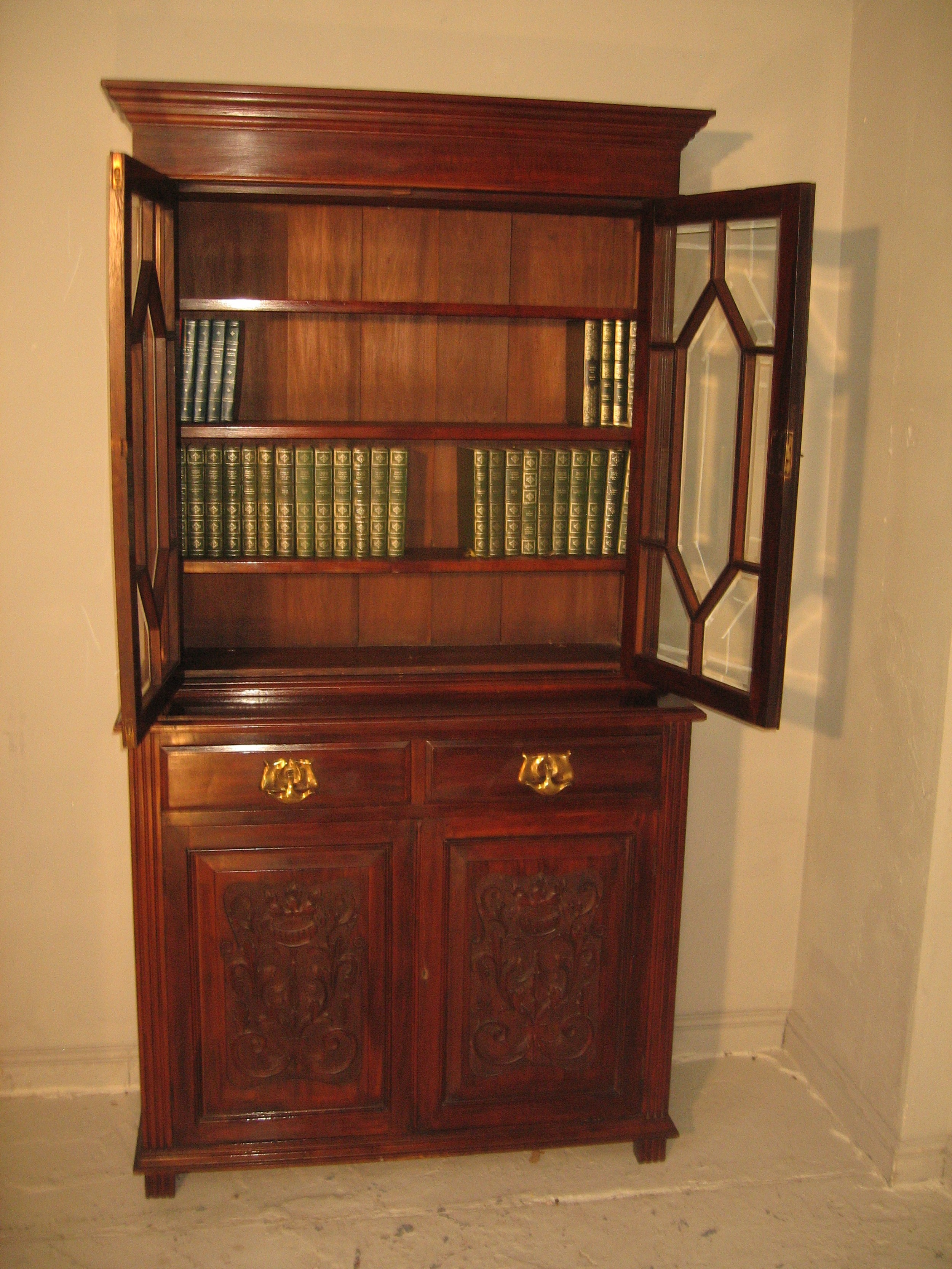 late victorian period mahogany cupboard bookcase