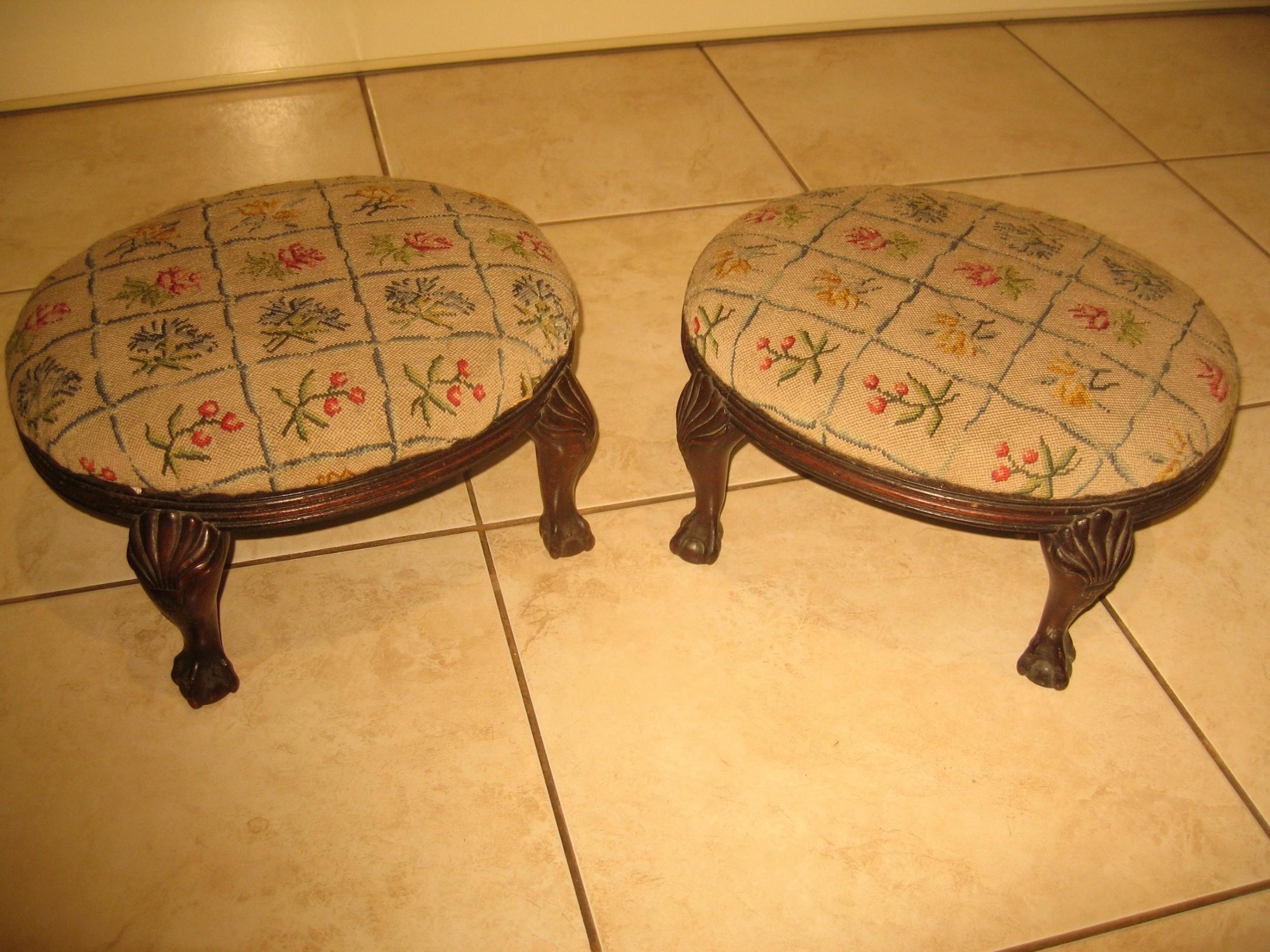 pair of victorian mahogany foot stools