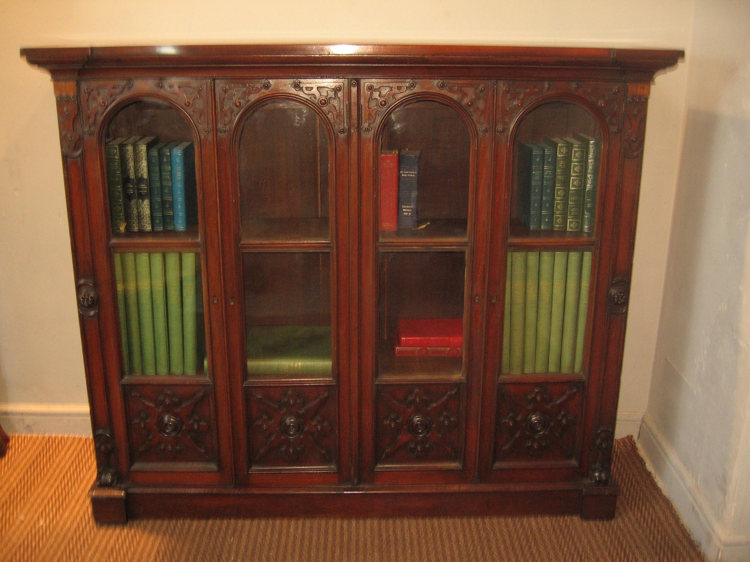 19th century gothic style mahogany bookcase