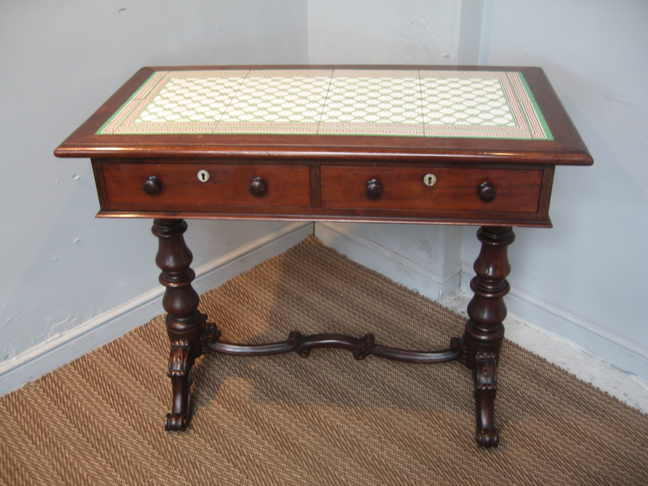 victorian mahogany and tiled top side table