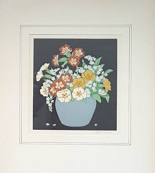 primulas cowslips a pair of 1930's woodcuts by hall thorpe