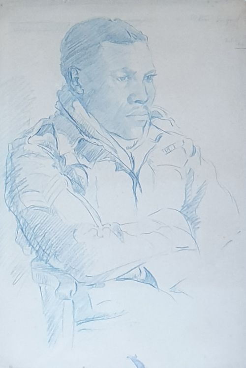 original sketch of a sergeant during wwii signed dated feb 22nd 1943