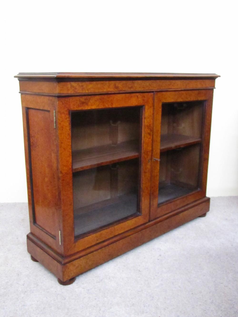 mid19th century amboyna rosewood glazed bookcase