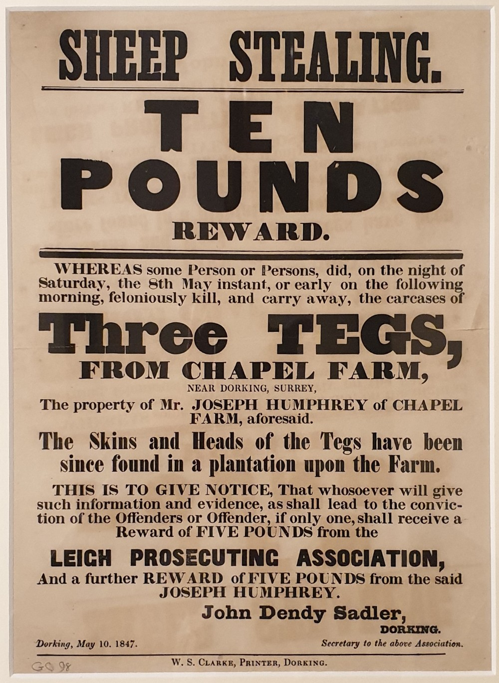 'sheep stealing' in surrey an original 1847 10 reward poster