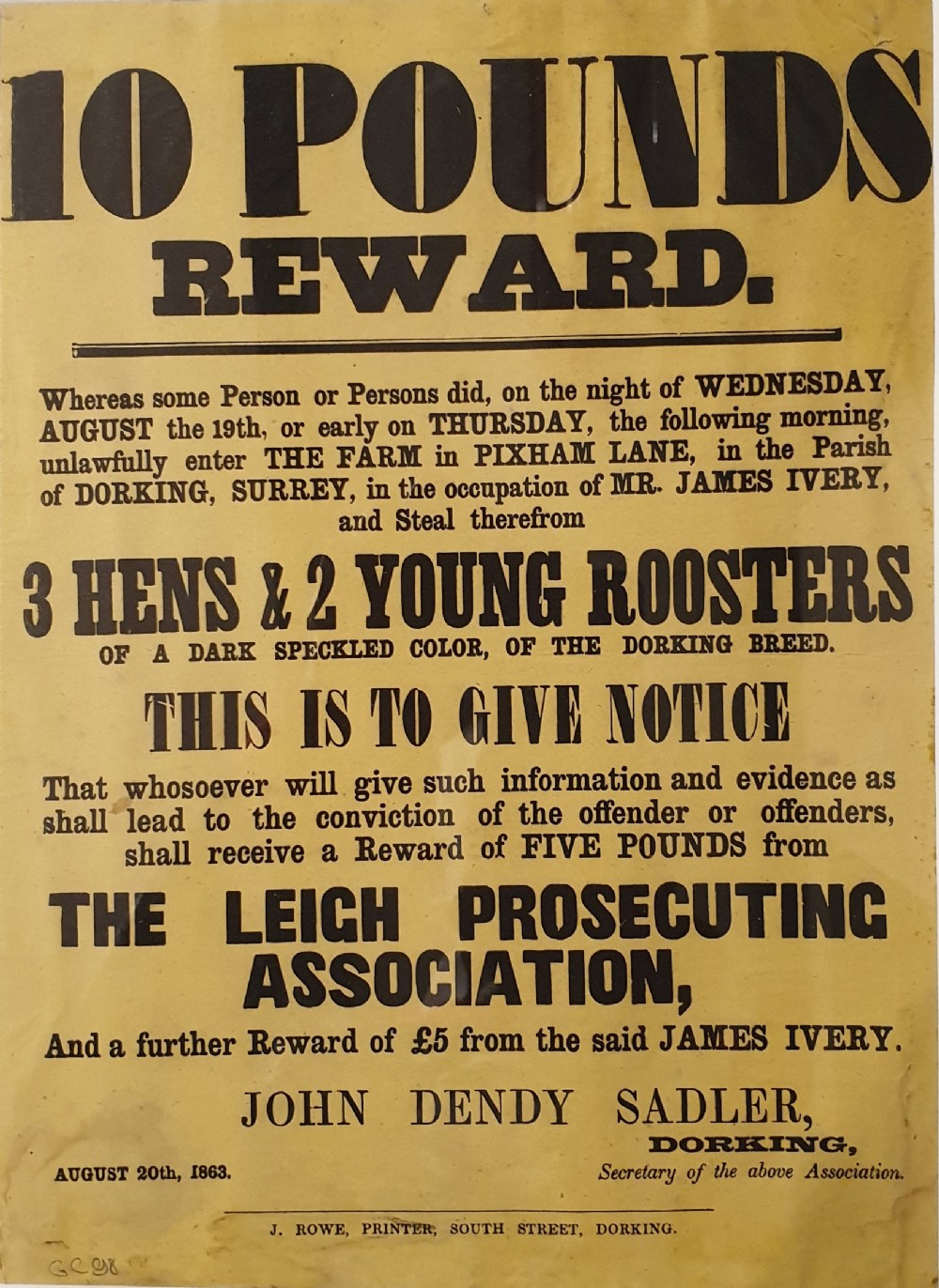 'stolen 3 hens 2 young roosters 10 reward ' an original 19th century wanted poster