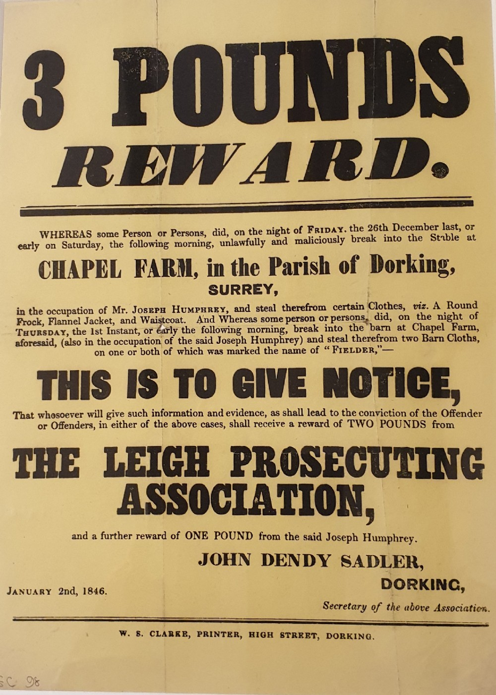 original 19th century reward poster unlawful malicious thefts from surrey stables