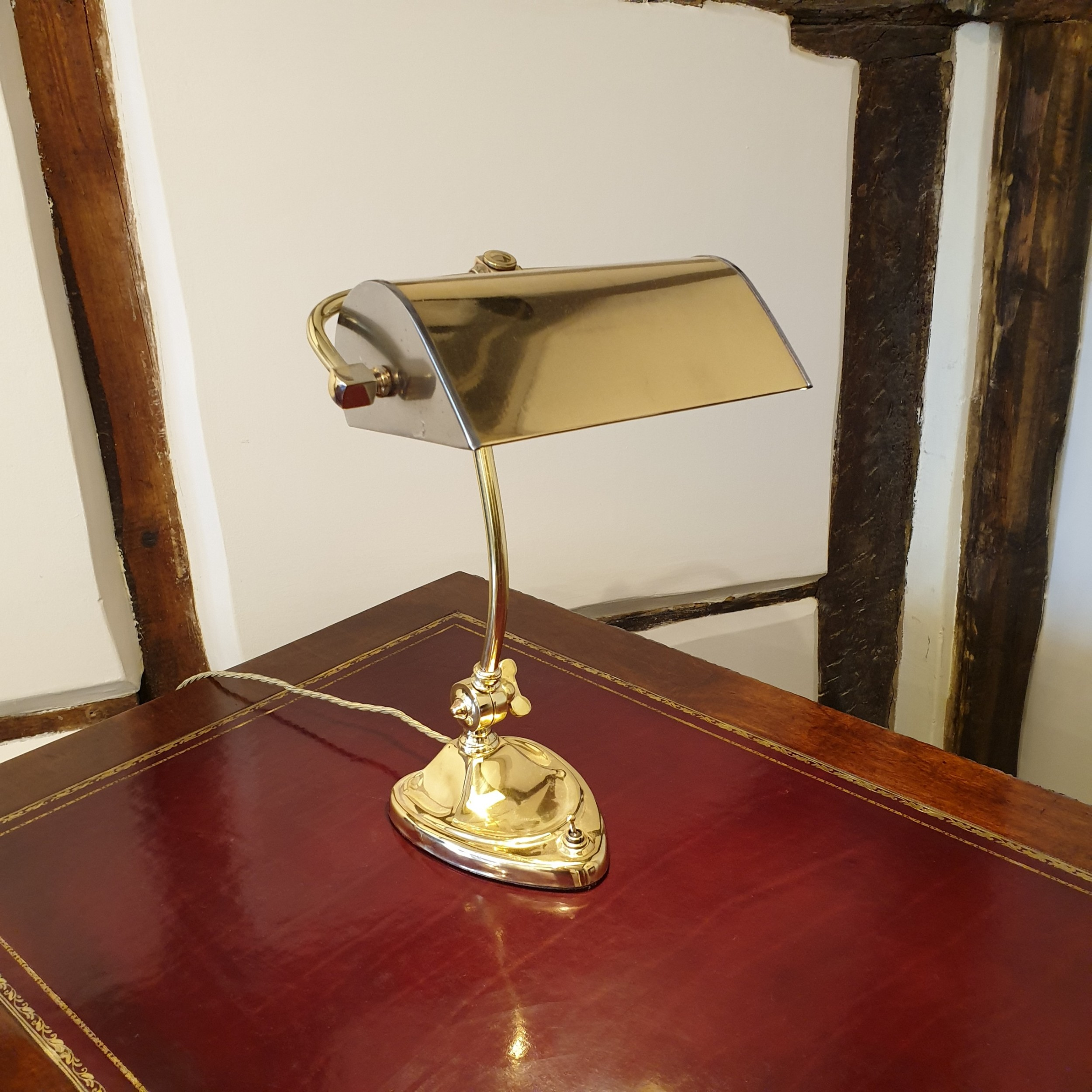 brass steel desk or bankers lamp with a heart shaped base