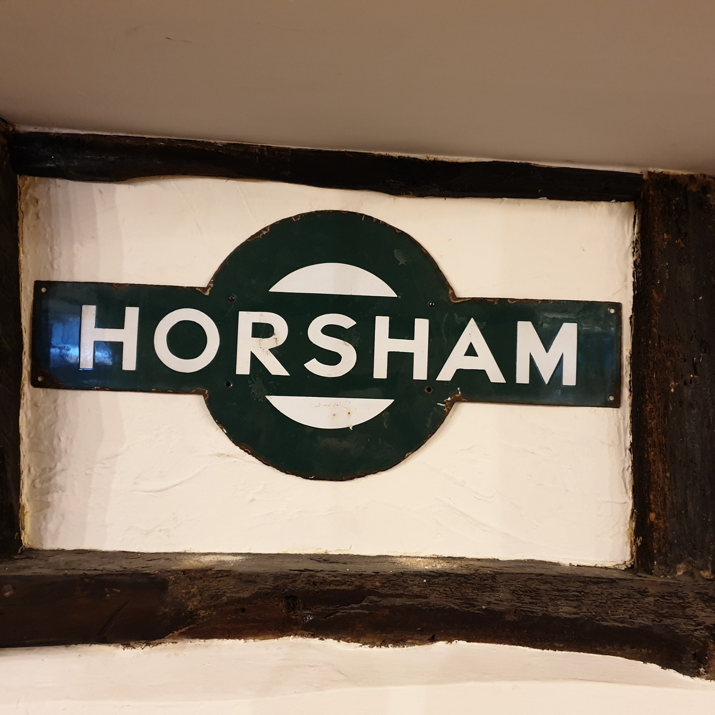 enamel target station sign for 'horsham' formerly part of the london brighton south coast railway