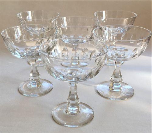 a good set of 6 edwardian cut champagne bowls
