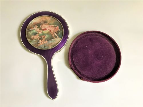 an outstanding french silver guilloche enamel hand mirror