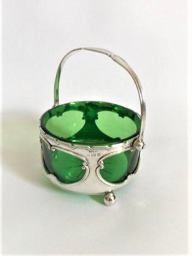 an art nouveau silver swing handle basket