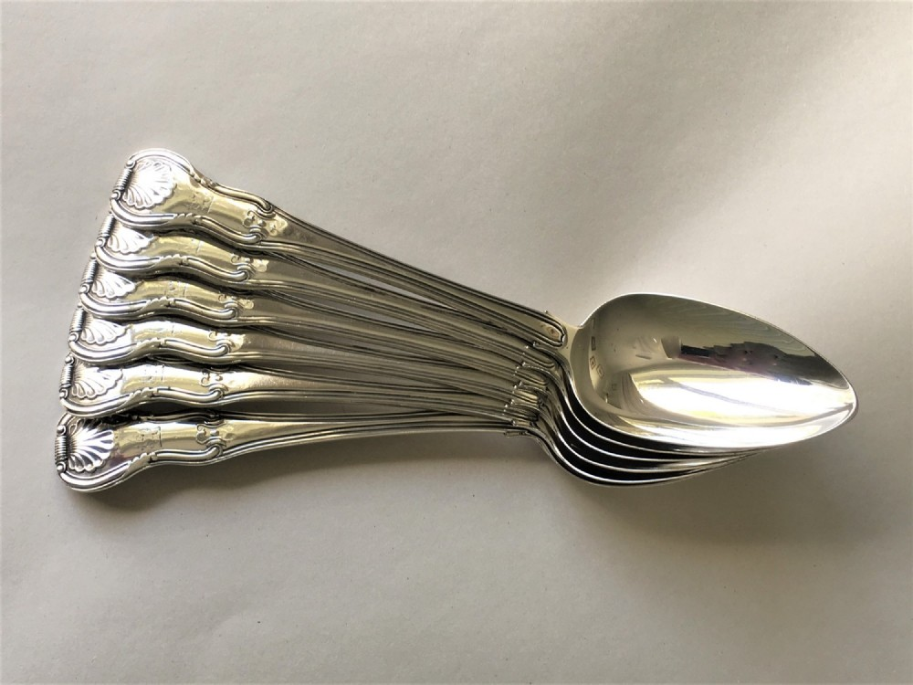 an outstanding set of 6 irish georgian silver serving spoons