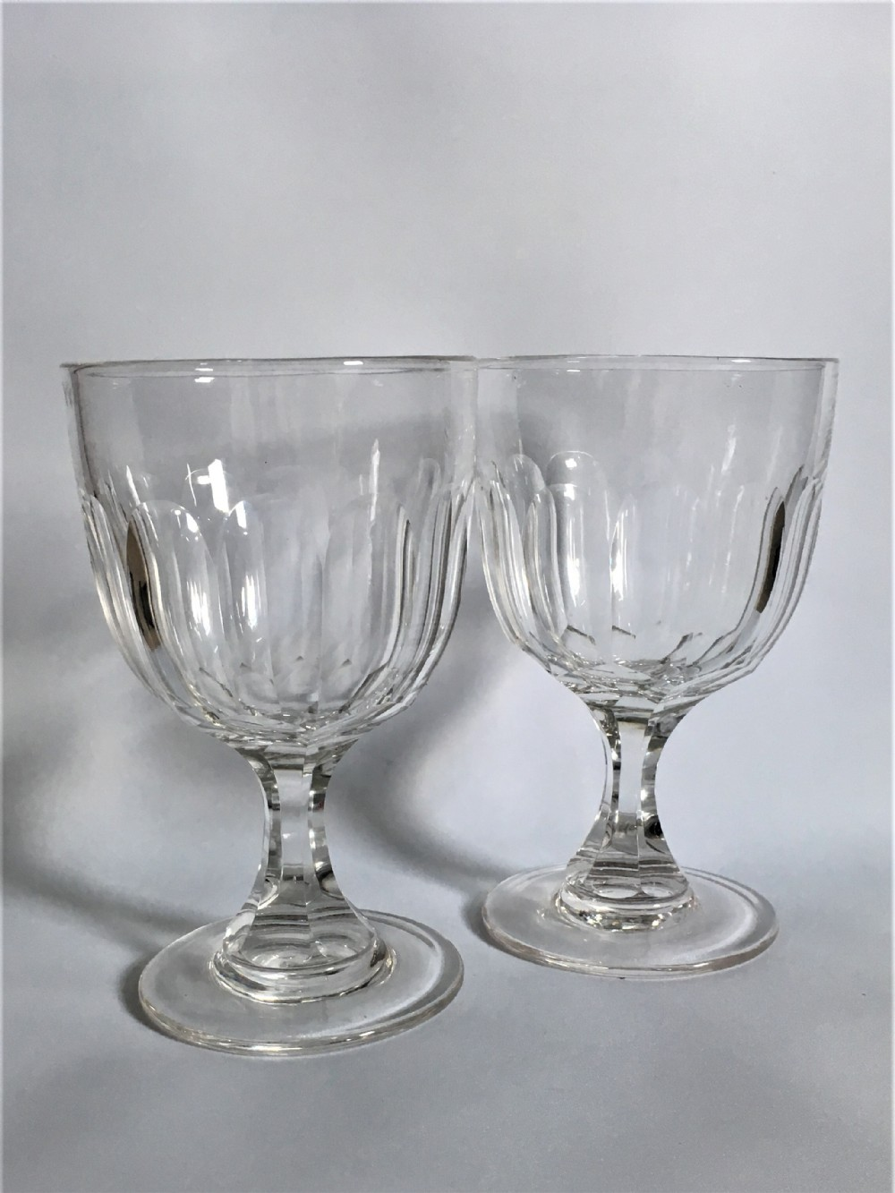 a large pair of victorian cut glass rummers