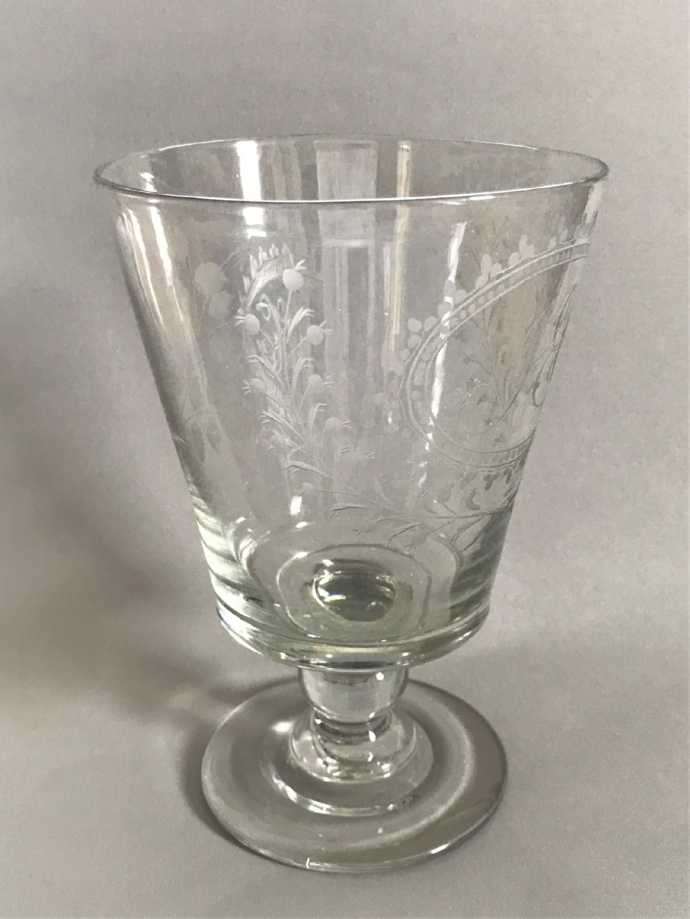 a magnificent early victorian etched glass rummer