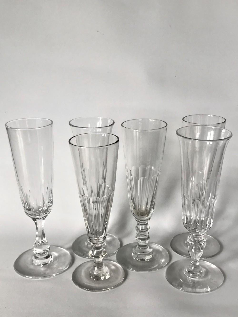 a harlequin set of 6 victorian champagne flutes