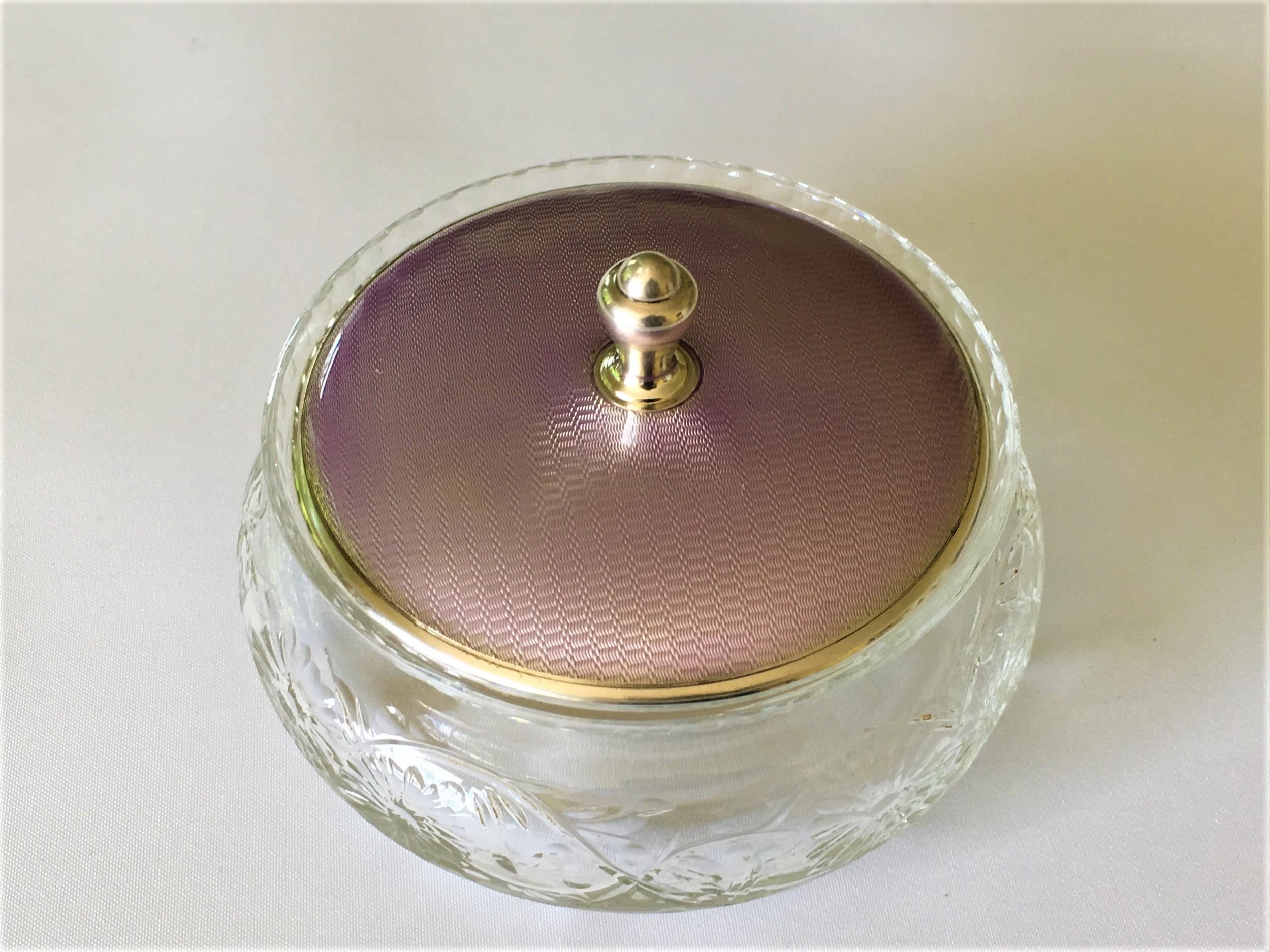 a gorgeous silver guilloche enamel lidded powder bowl