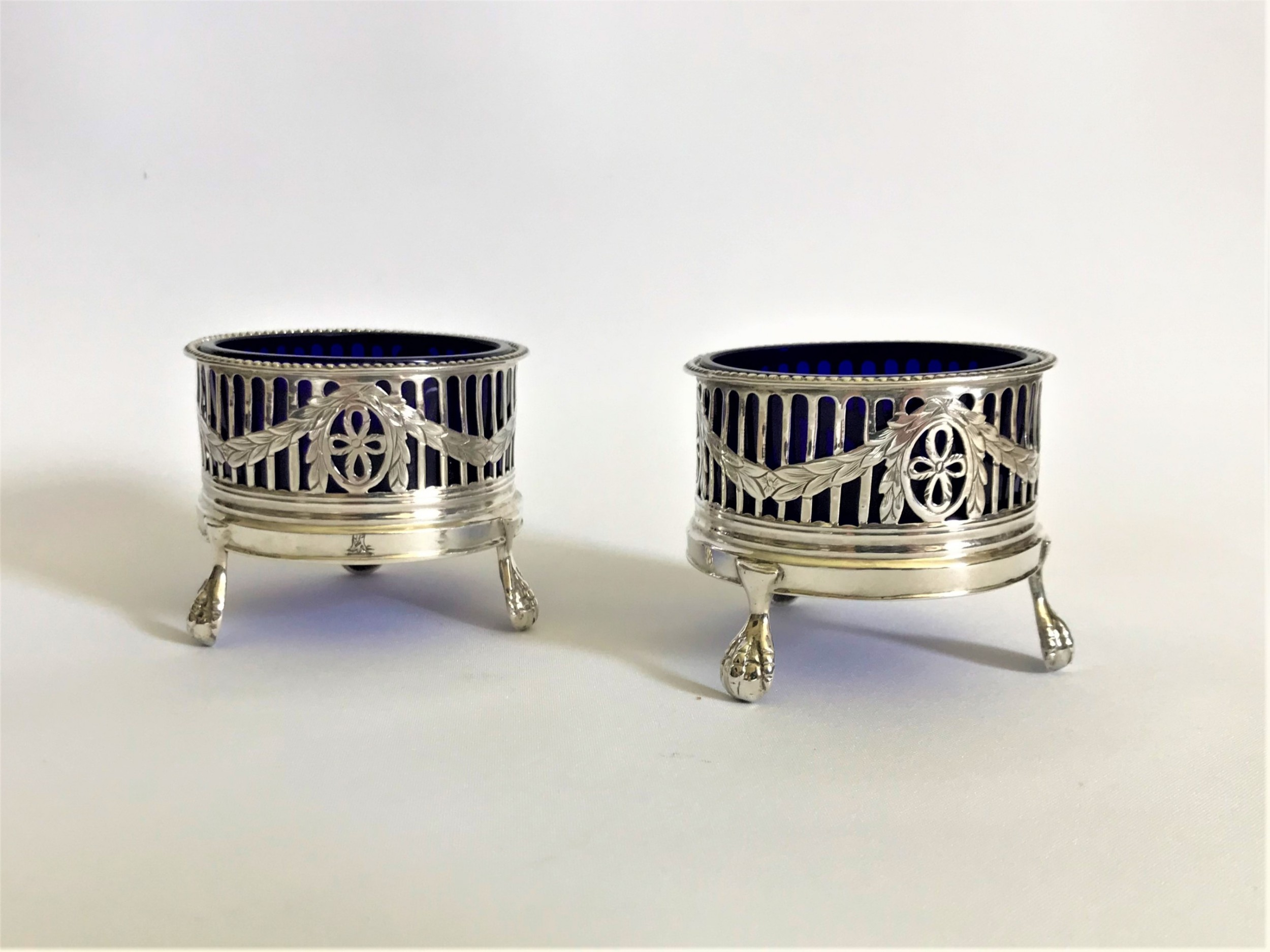 a superb pair of 18th century silver condiment tubs
